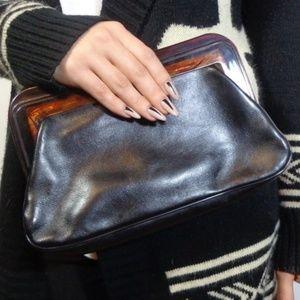 True Vtg Black Leather Margolin Clutch Purse